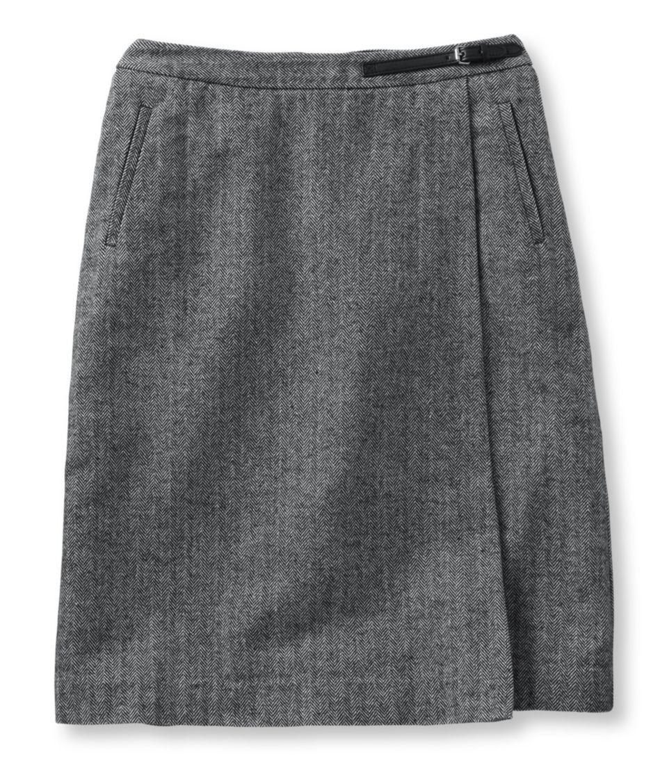 Women's Weekend Faux Wrap Skirt, Herringbone