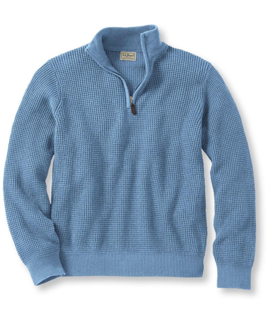 Cotton/Cashmere Waffle Quarter-Zip Sweater