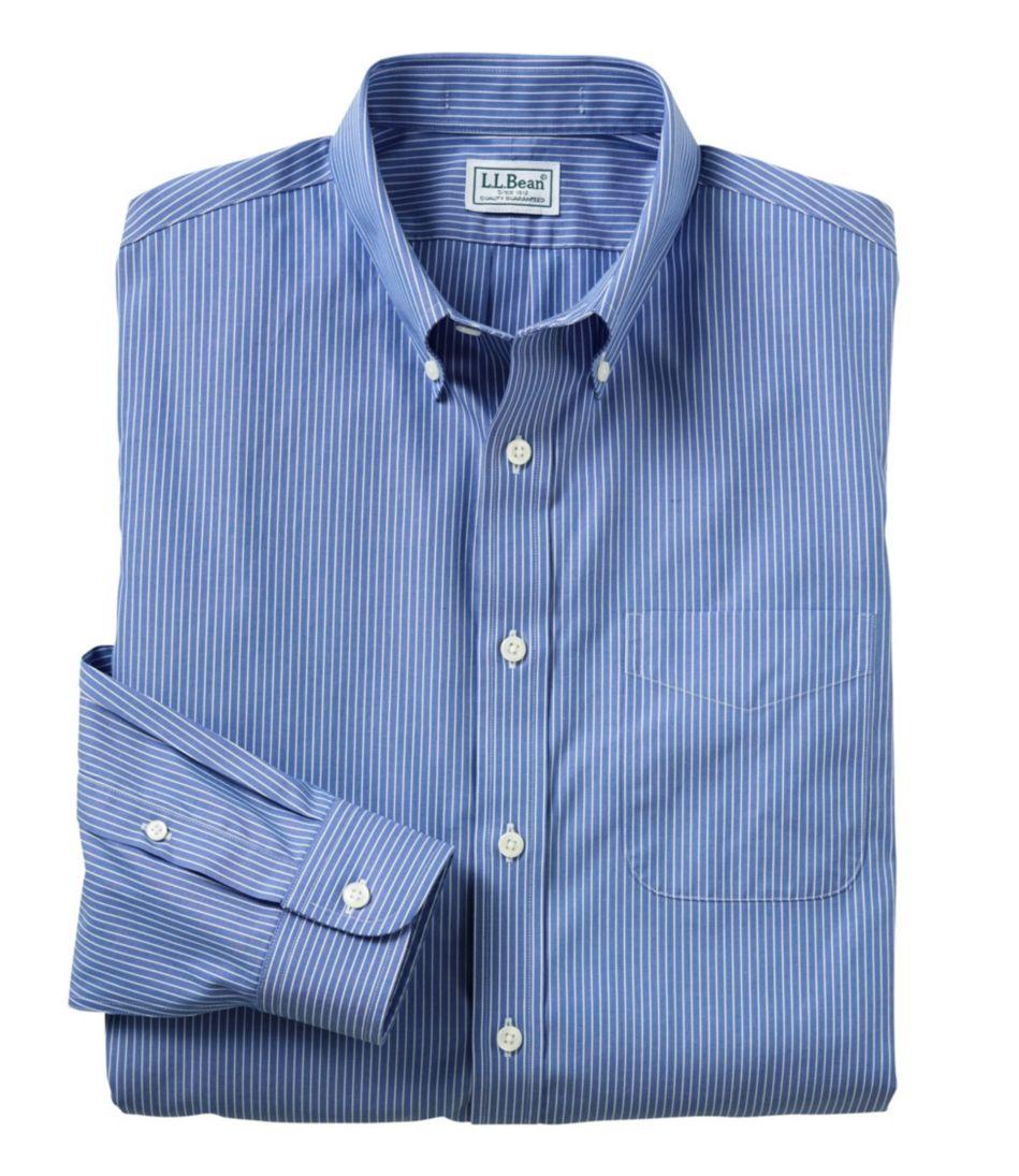 Men S Wrinkle Free Pinpoint Oxford Cloth Shirt Slim Fit Stripe