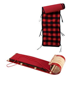 Toboggan with Cushion and Buffalo Plaid Cushion Cover, Small