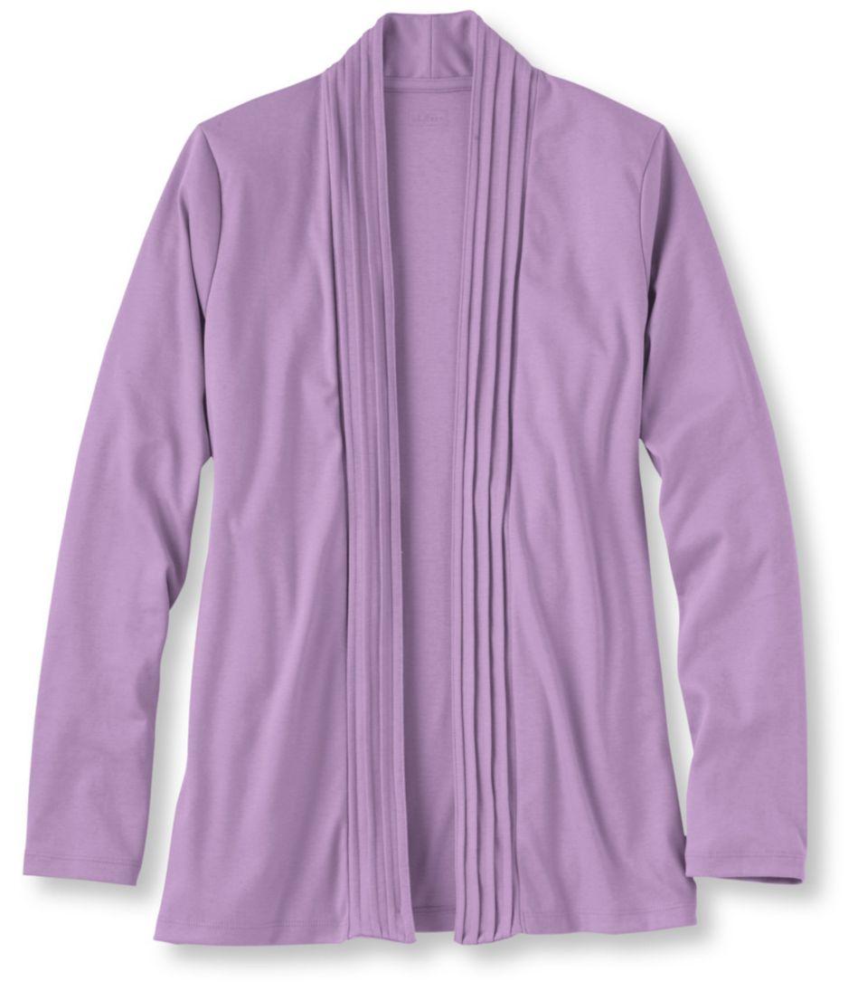 Pima Cotton Pin-Tucked Open Cardigan