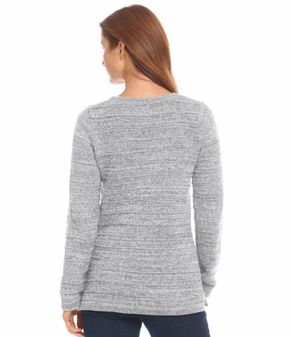 Marled Cotton Sweater, Ottoman-Stitch Pullover