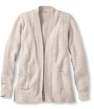 Cotton Basket-Weave Sweater, Open Cardigan