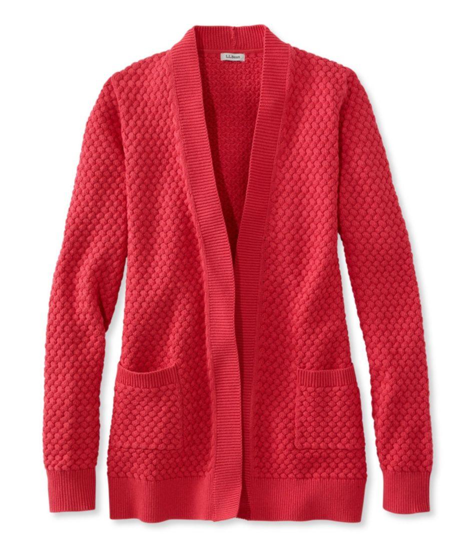 Cotton Basket-Weave Sweater, Open Cardigan