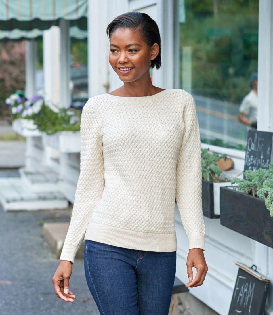 Cotton Basket-Weave Sweater, Boatneck Pullover