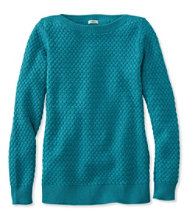 Cotton Basket-Weave Sweater, Boatneck Pullover