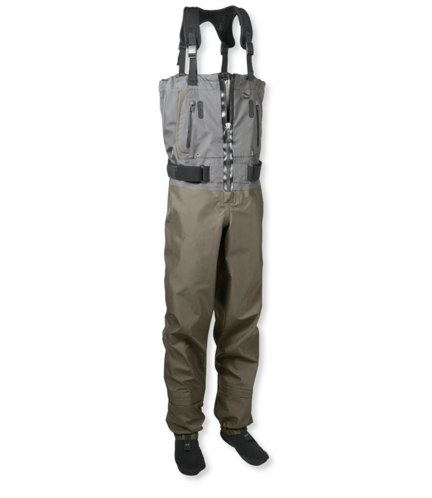 This zip-front fishing waders photo shows the L.L.Bean Kennebec Zippered Waders.