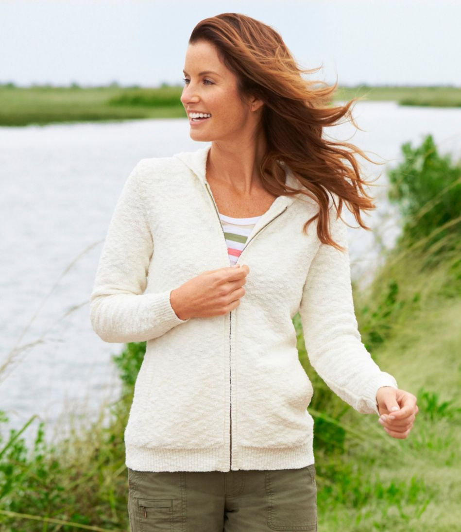 Textured Cotton Sweater, Zip-Front Hoodie