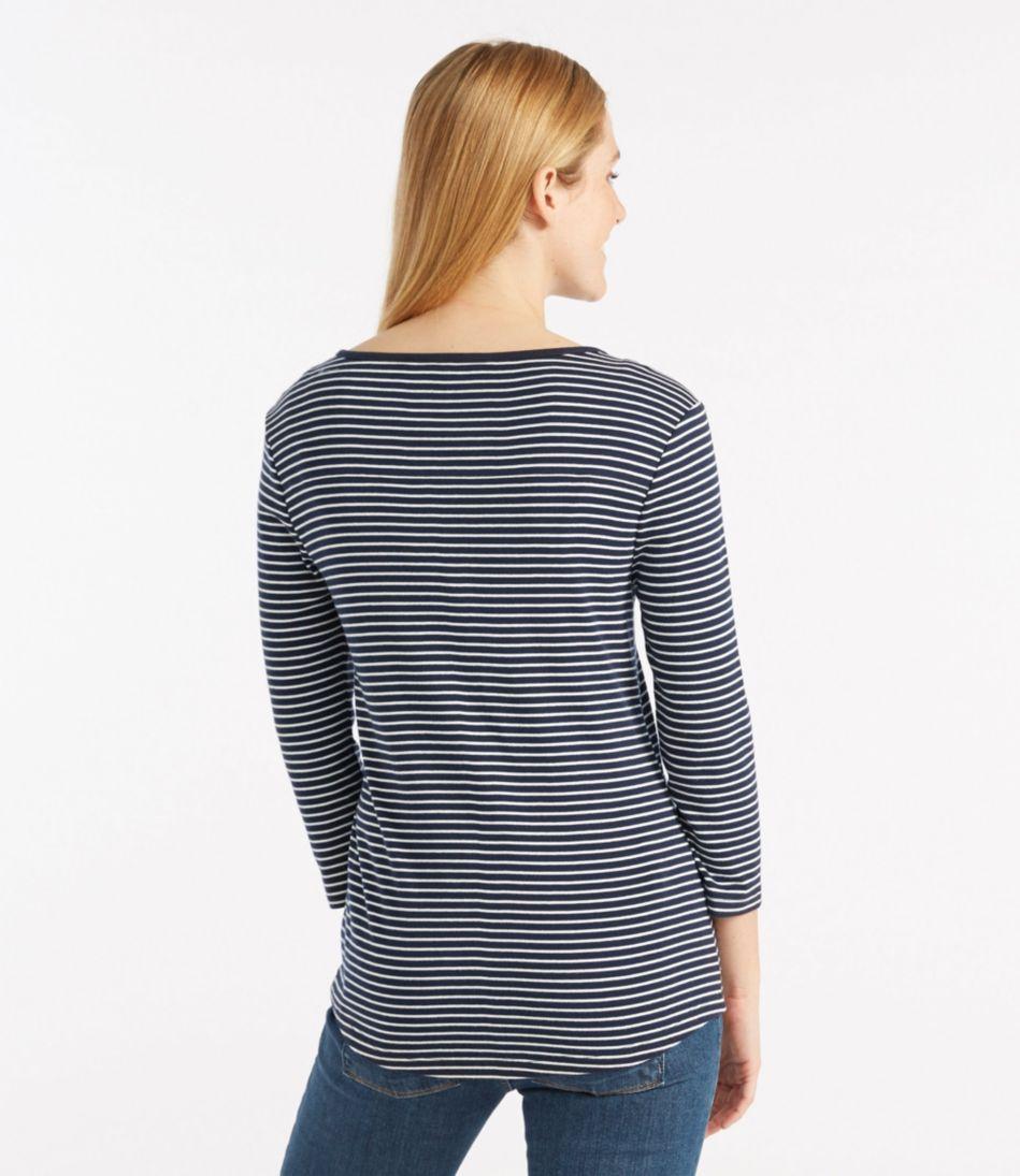 Double L® Rib-Knit Tee, Three-Quarter-Sleeve Henley Stripe