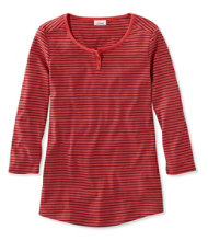 Double L Rib-Knit Tee, Three-Quarter-Sleeve Henley Stripe