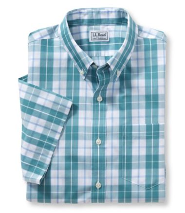 Wrinkle-Free Acadia Sport Shirt, Slightly Fitted Short-Sleeve Plaid