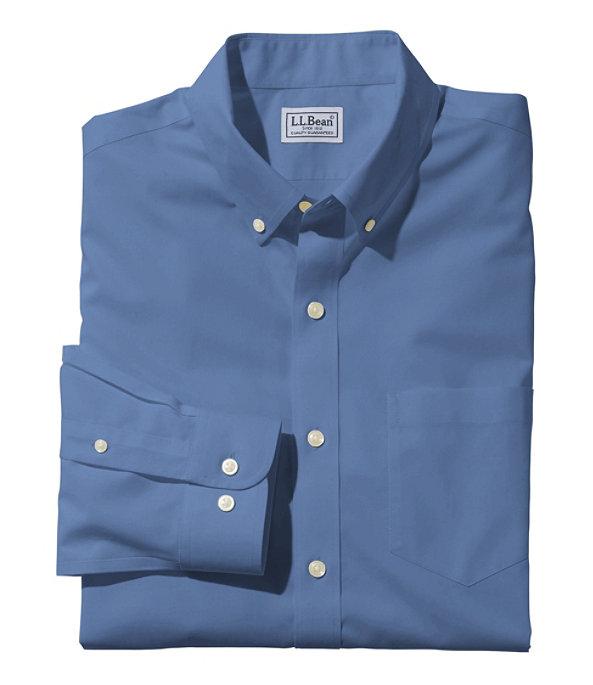 Wrinkle-Free Poplin Shirt, Men's, Mid-Blue, large image number 0