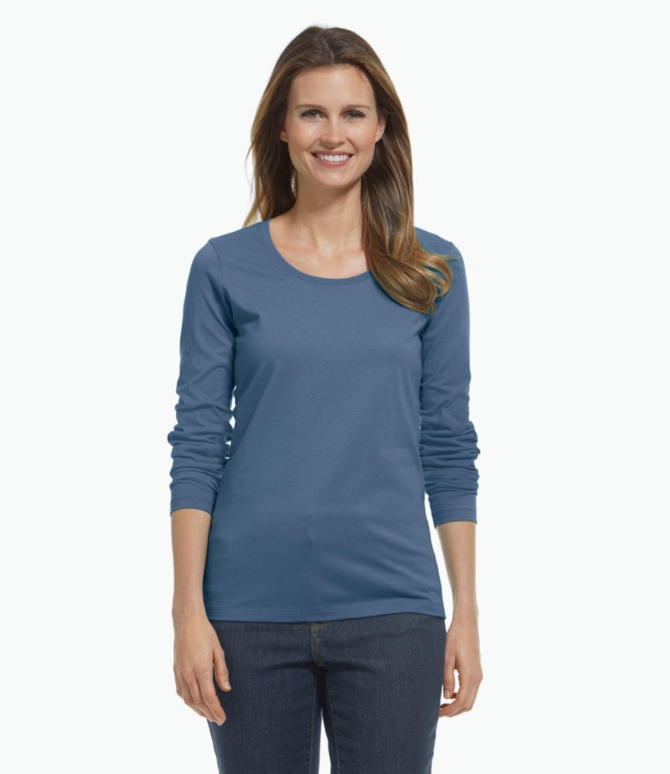 Carefree Unshrinkable Shirt, Long-Sleeve Scoopneck