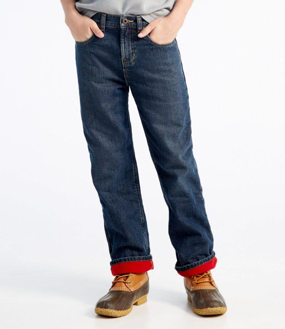 Boys' Double L® Straight Leg Jeans, Fleece-Lined