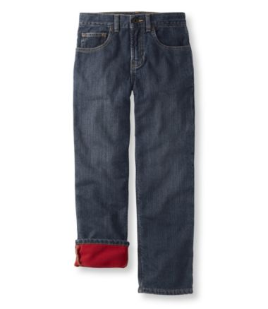 Boys' Double L® Straight Leg Jeans, Fleece-Lined