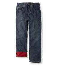 Boys' Double L Straight Leg Jeans, Fleece-Lined