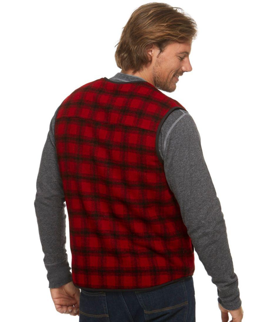 Fleece-Lined Wool Vest, Plaid