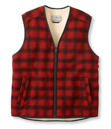 Fleece-Lined Wool Vest, Plaid