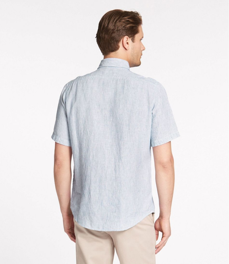 L.L.Bean Linen Shirt, Slightly Fitted Short-Sleeve Stripe
