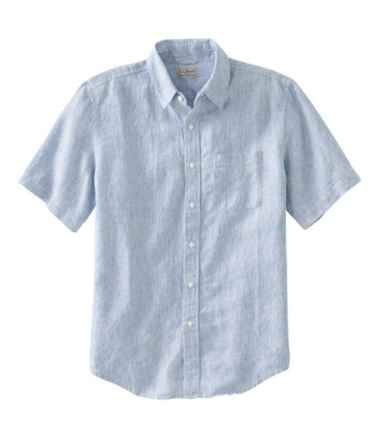 L.L.Bean Linen Shirt, Slightly Fitted Short-Sleeve Stripe