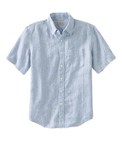 Men's L.L.Bean Linen Shirt, Slightly Fitted Short-Sleeve Stripe