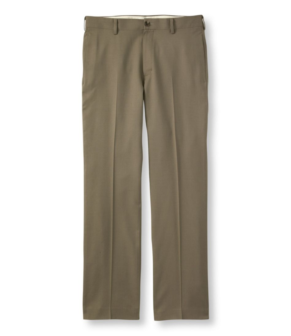 Washable Year-Round Wool Pants, Standard Fit Plain Front