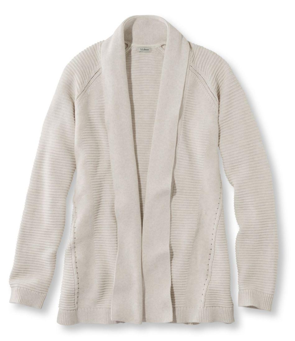 Cotton Mixed-Stitch Sweater, Open Cardigan