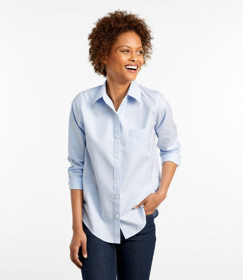 Wrinkle-Free Pinpoint Oxford Shirt, Long-Sleeve Relaxed Fit Stripe