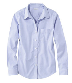 Women's Wrinkle-Free Pinpoint Oxford Shirt, Long-Sleeve Relaxed Fit Stripe