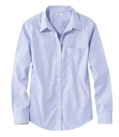 Wrinkle-Free Pinpoint Oxford Shirt, Relaxed Fit Long-Sleeve Stripe