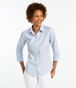 Women's Wrinkle-Free Pinpoint Oxford Shirt, Three-Quarter Sleeve Slightly Fitted Stripe