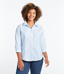 Wrinkle-Free Pinpoint Oxford Shirt, Three-Quarter Sleeve Slightly Fitted Stripe