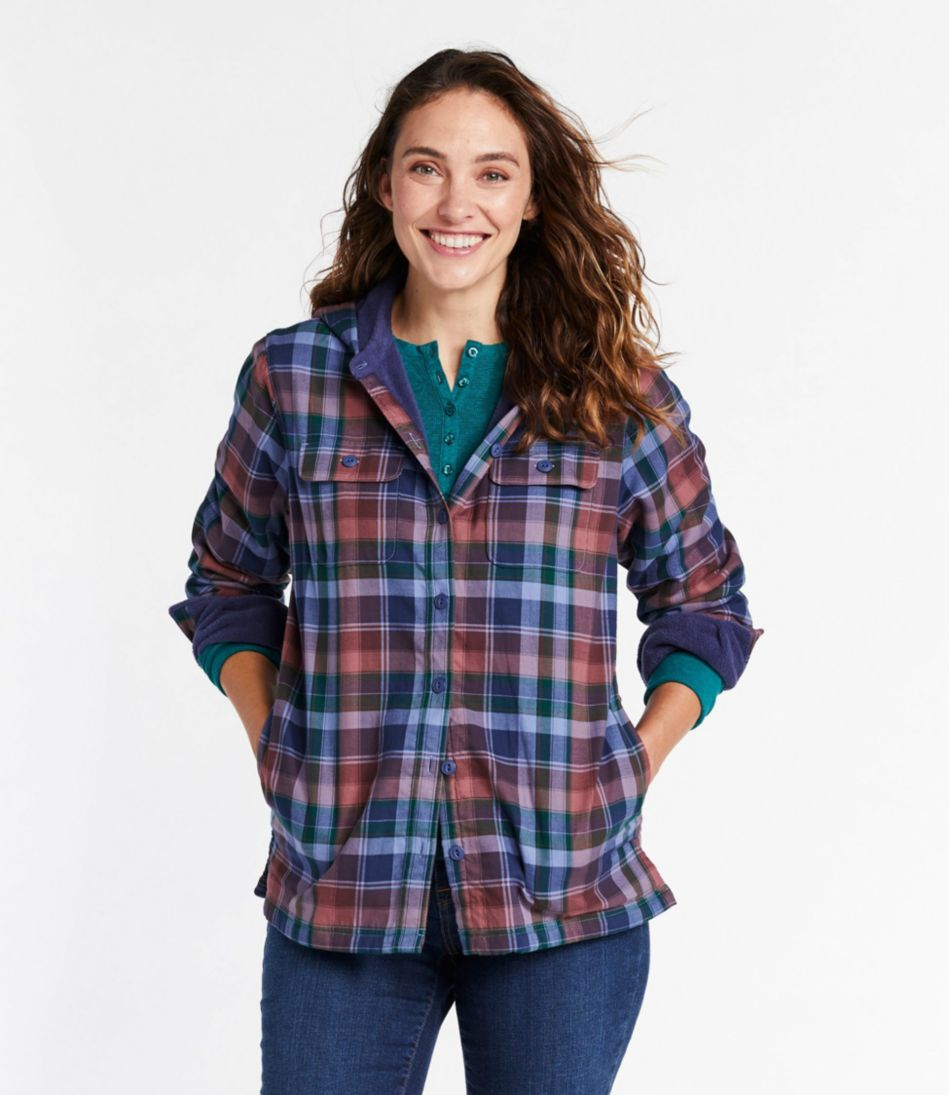Women's Fleece-Lined Flannel Plaid Hoodie