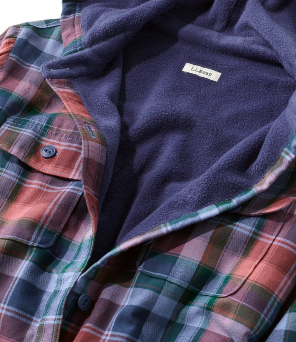 Fleece-Lined Flannel Plaid Hoodie