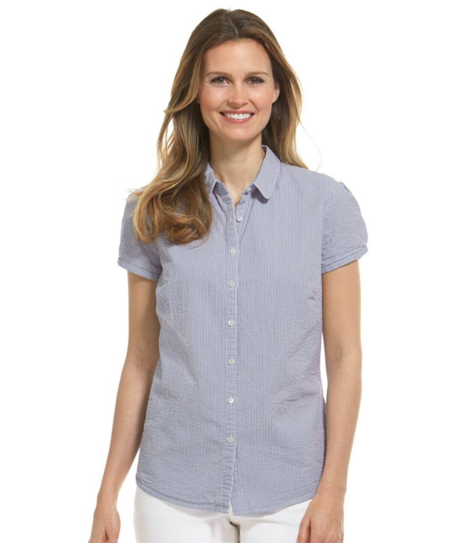 Essential Seersucker Shirt, Short-Sleeve Stripe