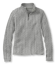 Double L Cotton Sweater, Zip-Front Cable Cardigan Marled