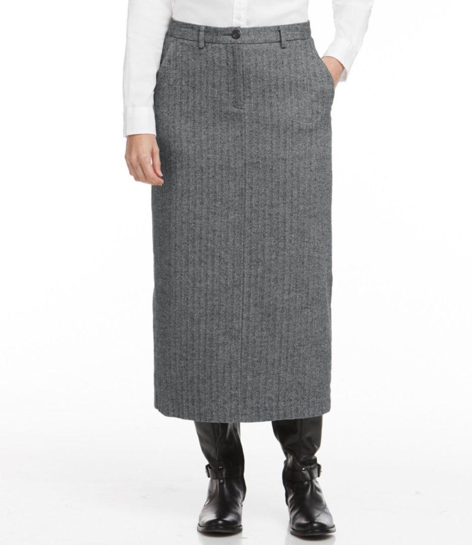 Weekend Mid-Length Skirt, Herringbone