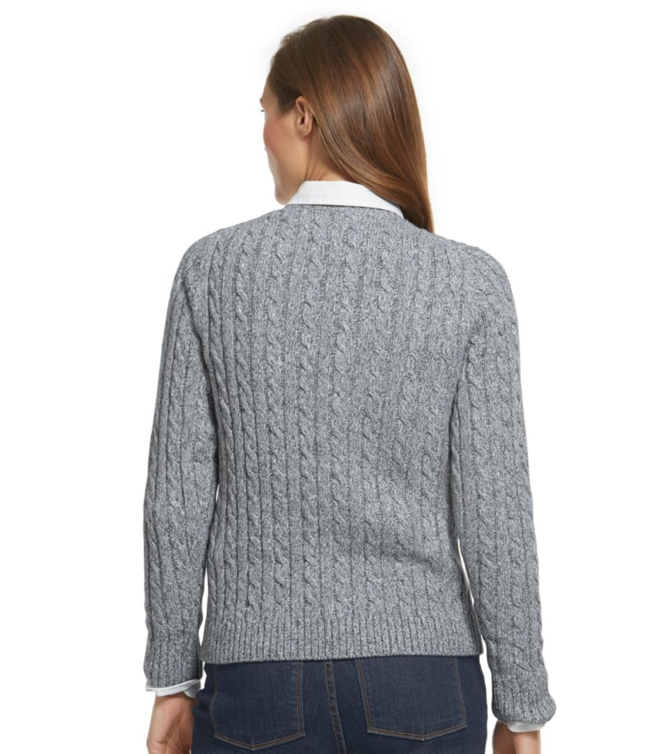 Double L® Cotton Sweater, Cable Crewneck Marled