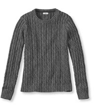 Double L Cotton Sweater, Cable Crewneck Marled