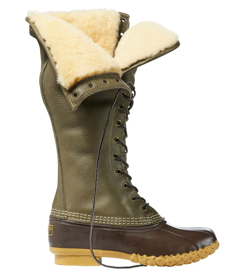 "Signature Tumbled-Leather L.L.Bean Boots, 16"" Shearling-Lined"