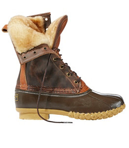 "Women's Signature Tumbled-Leather L.L.Bean Boots, 10"" Shearling-Lined"