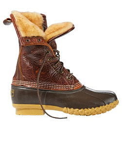 "Signature Tumbled-Leather L.L.Bean Boots, 10"" Shearling-Lined"