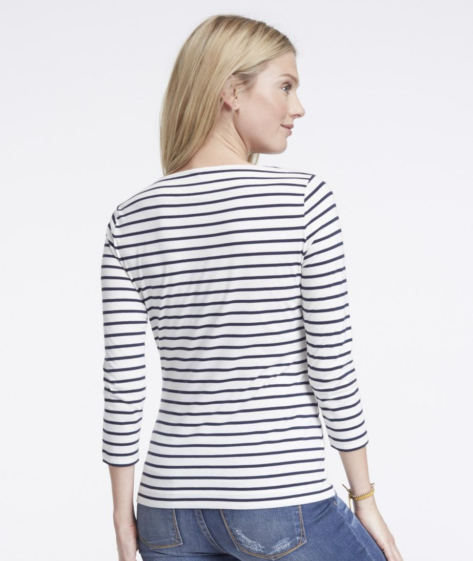 Signature Cotton/Modal Boatneck Top, Stripe