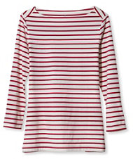 Signature Cotton/Modal Boatneck Top, Stripe