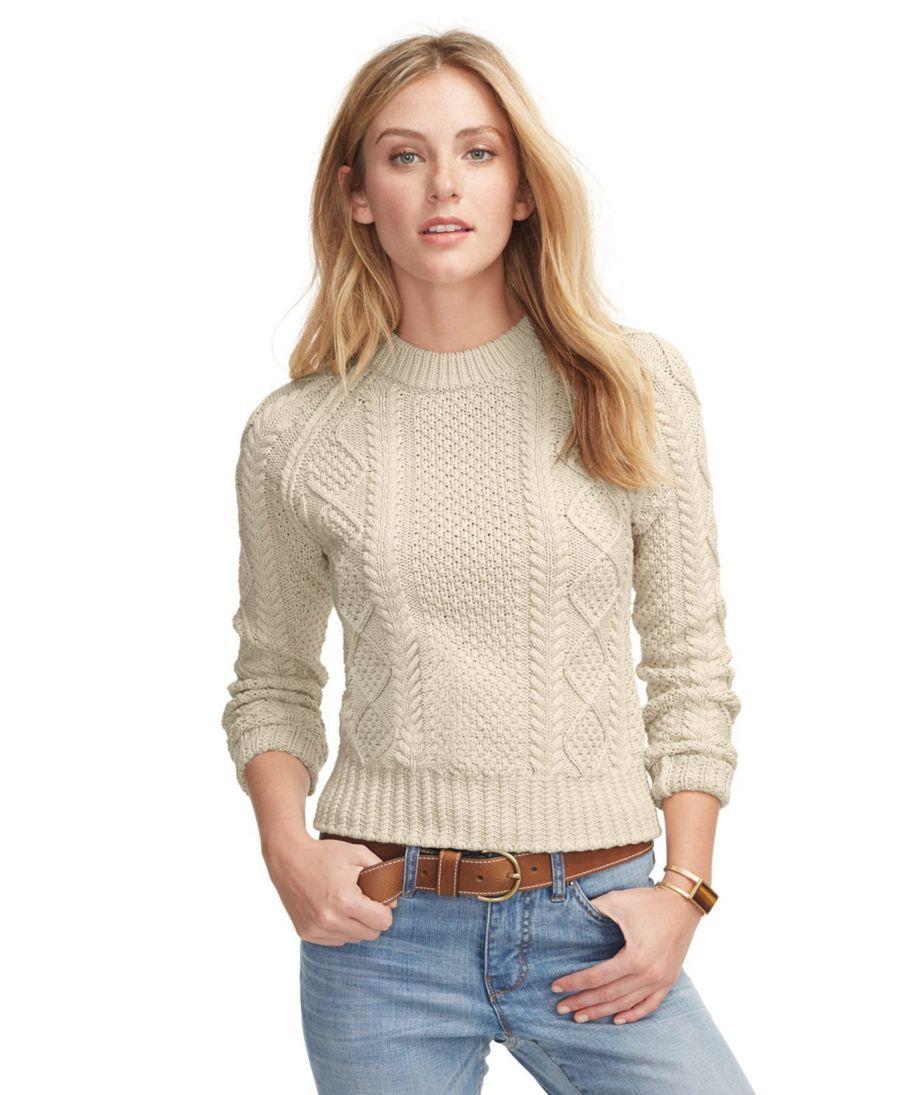 Womens Signature Cotton Fisherman Sweater