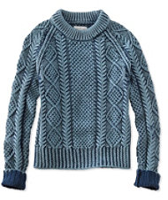 Women's Signature Cotton Fisherman Sweater, Washed