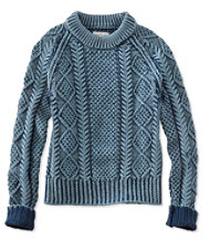 Signature Cotton Fisherman Sweater, Washed