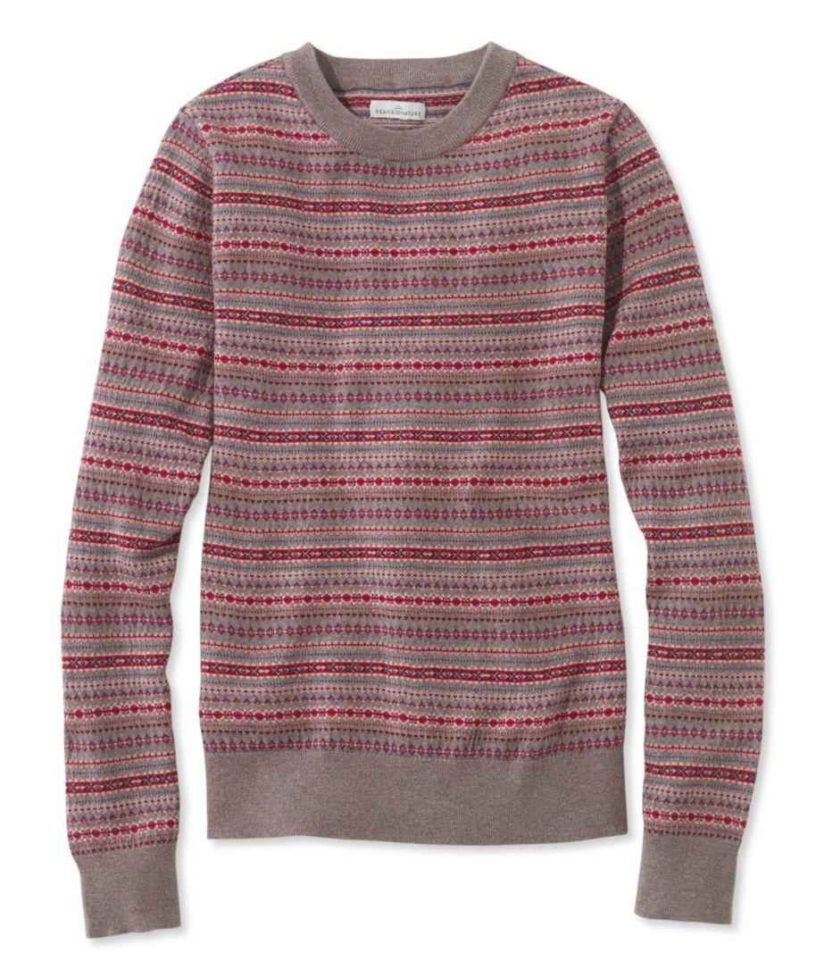 Signature Merino Crewneck Sweater, Fair Isle