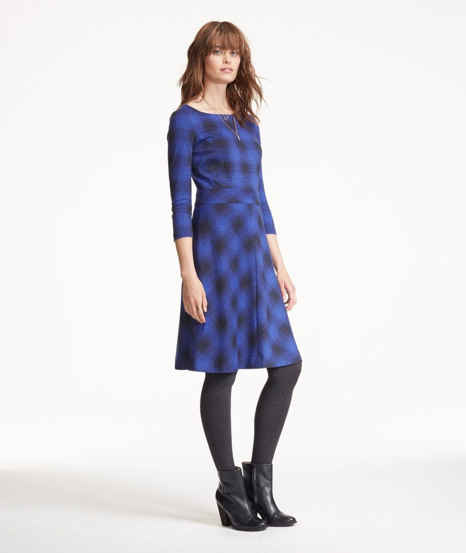 Signature Ponte Dress, Three-Quarter-Sleeve Plaid