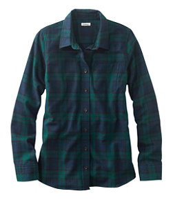 Women's Scotch Plaid Flannel Shirt, Slightly Fitted